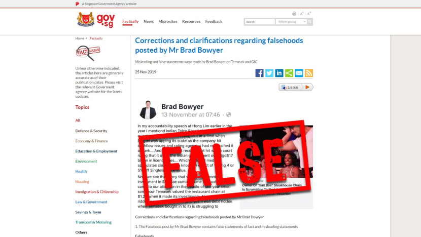 POFMA Office directs Brad Bowyer to correct Facebook post in first use of 'fake news' law
