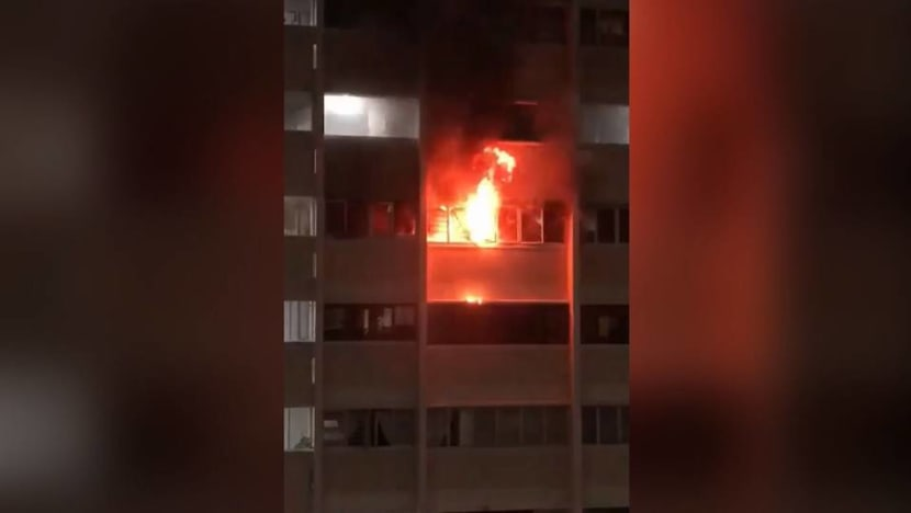Fire breaks out at Hougang flat, no injuries