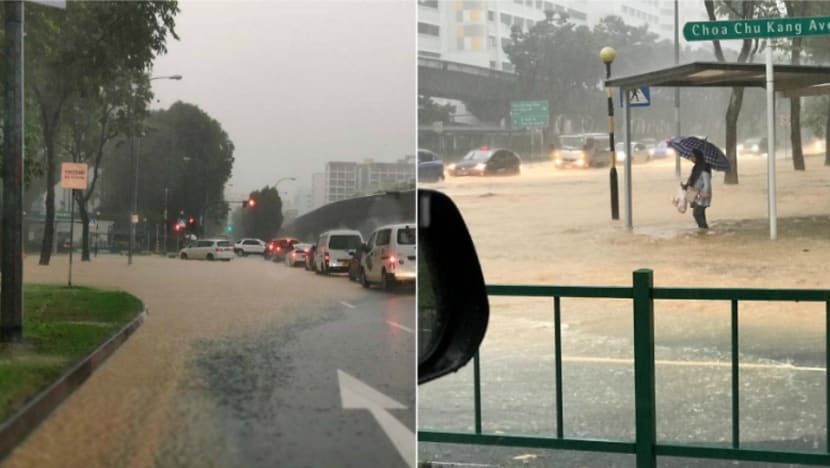 Flash floods hit Bukit Batok, Choa Chu Kang