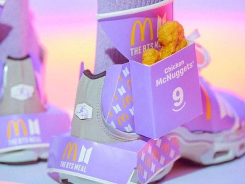 Custom shoes made out of McDonald's BTS Meal boxes? This Singaporean artist nailed it