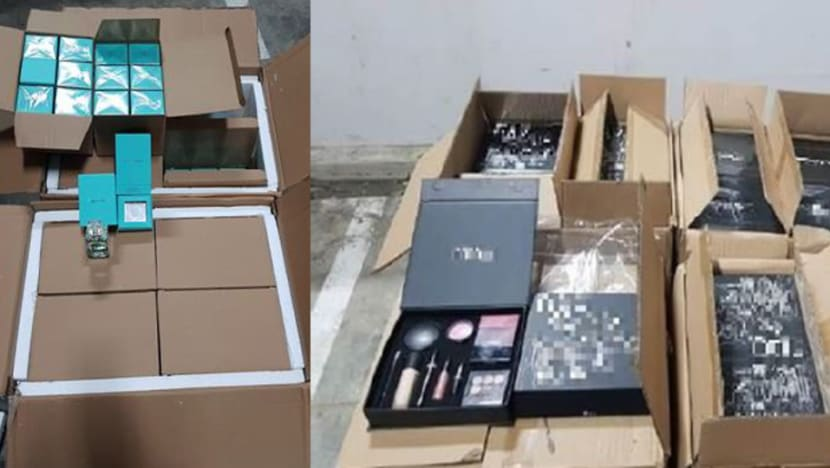 2 arrested for importing, possessing counterfeit perfume, cosmetics worth S$800,000