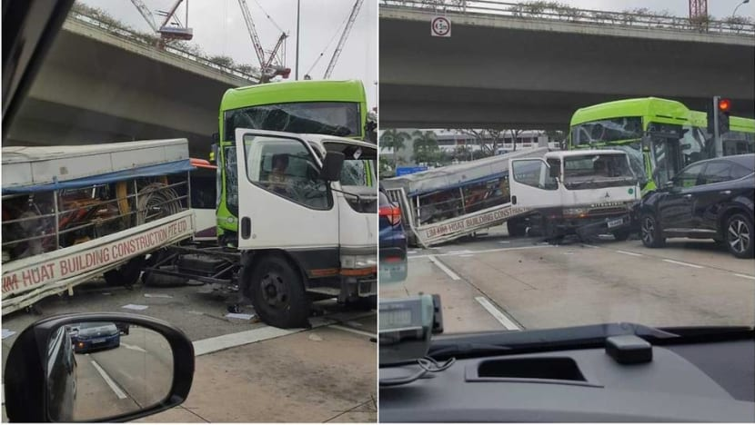 Lorry driver arrested after accident at Braddell Road that injured 2