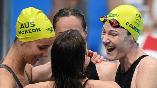澳洲女队破自由泳接力赛世界纪录 日本夺奥运第二金