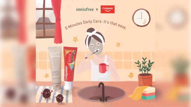 innisfree x Colgate火山泥产品 敷脸、刷牙5分钟搞定!