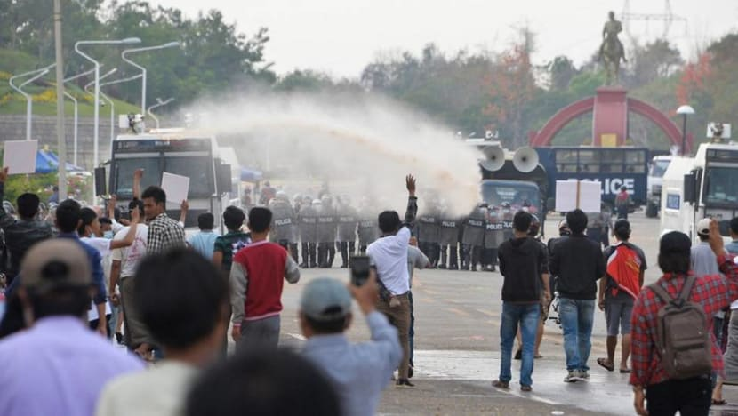 Protesters out again in Myanmar to denounce military coup, police use water cannon in capital