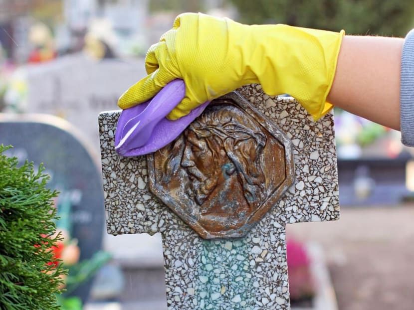 Had enough of watching people clean houses? How about watching someone clean tombstones?