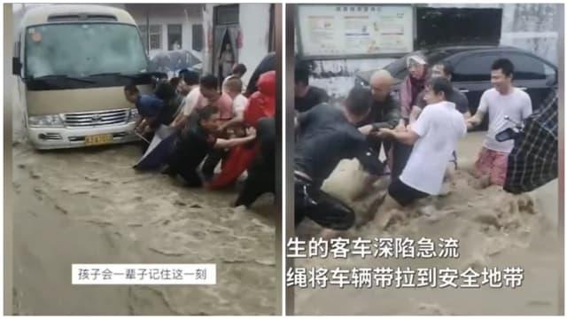 河南小学校车深陷急流 村民拉长绳救援