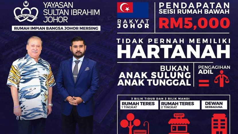 RM70,000 for a 3-bedroom terrace house: Johor royal family comes up with 'affordable' housing project