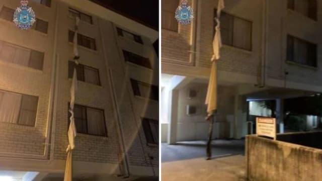 把床单绑成长绳 澳洲男子酒店隔离爬窗逃