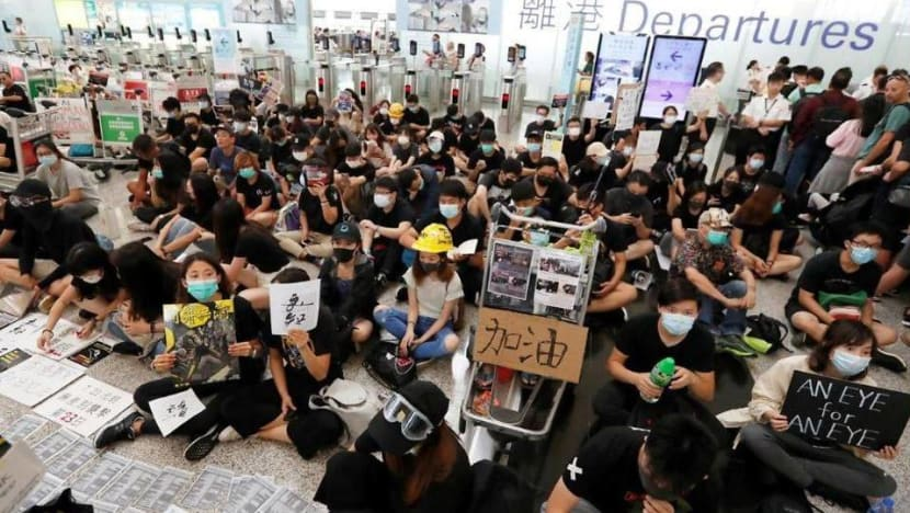 Protesters block departure hall at Hong Kong airport day after rally led to mass flight cancellations