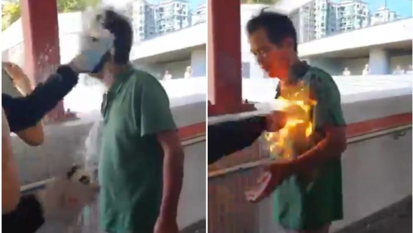 Hong Kong police say man set on fire after arguing with protesters