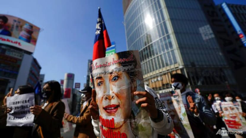 Myanmar nationals in Japan march in protest of military coup
