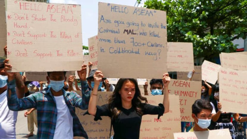 Myanmar activists hold 'blue shirt' protests; junta chief to attend upcoming ASEAN summit