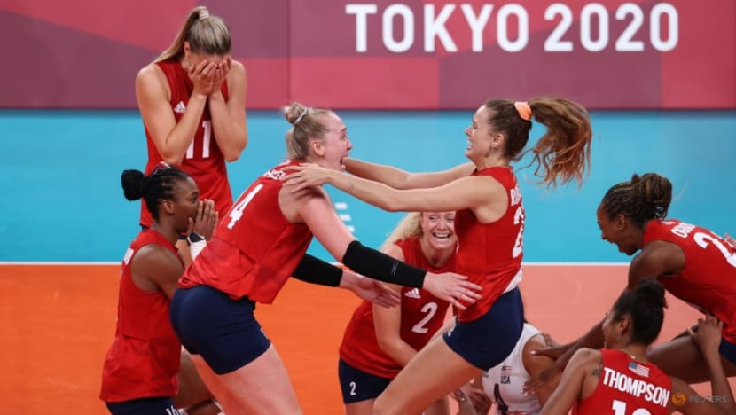 Olympics-Volleyball-US women team win first gold medal against Brazil