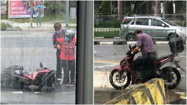 【暖心驿站】摩托车骑士雨天摔倒 巴士车长出手相助获网赞