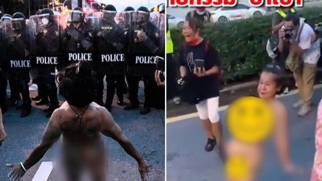 """曾攻击警察下体 泰国""""网红""""女示威者当街全裸挑衅警察"""