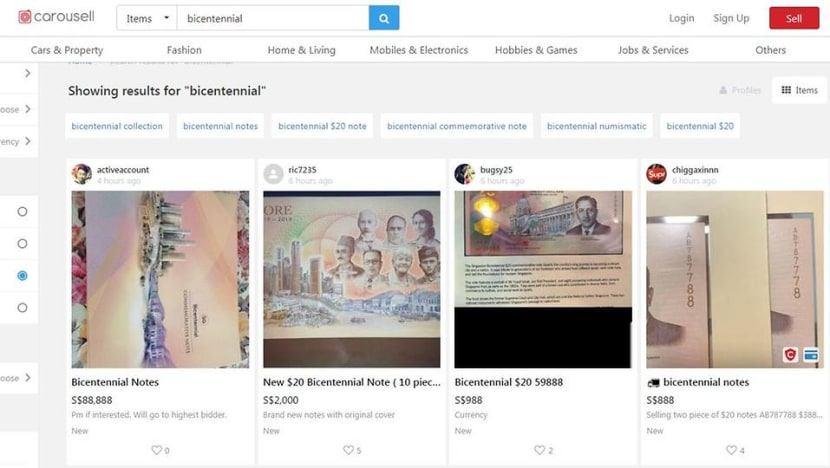 Bicentennial S$20 notes on sale for as much as S$988 on Carousell as banks run out of stock