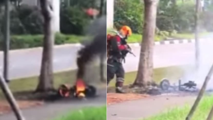 Food delivery rider's e-scooter catches fire in Sengkang