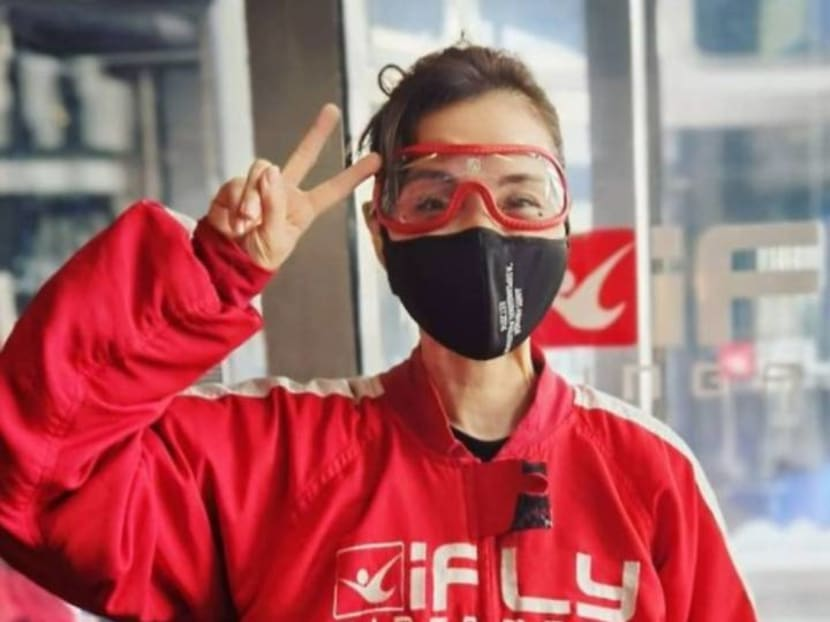 Actress Zoe Tay tries out indoor skydiving, shares videos of her 'flying'