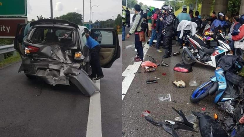 7 taken to hospital after car crashes into motorcyclists at Second Link Expressway: Reports