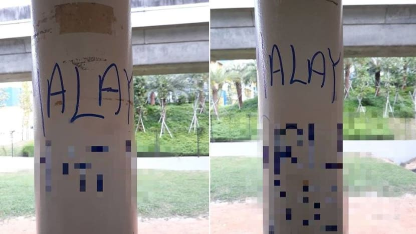 Man gets jail, caning for scrawling racist graffiti in Geylang