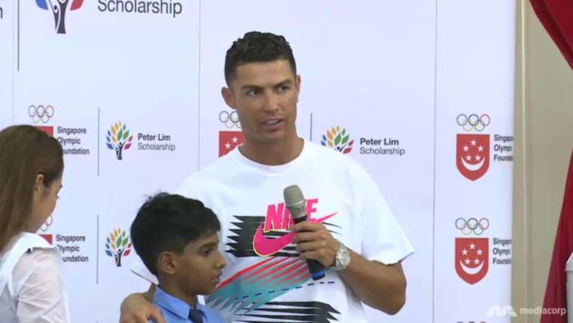 Juventus football star Cristiano Ronaldo visits Yumin Primary School