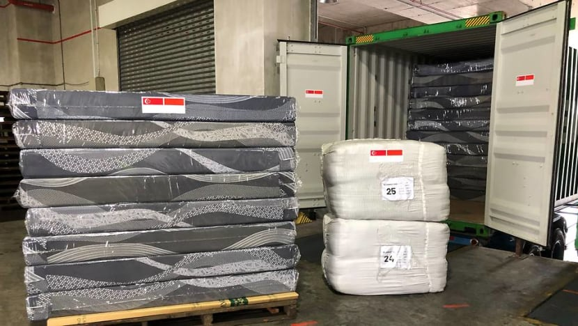 Singapore receives shipment of bedding items from Indonesia for COVID-19 community care facilities