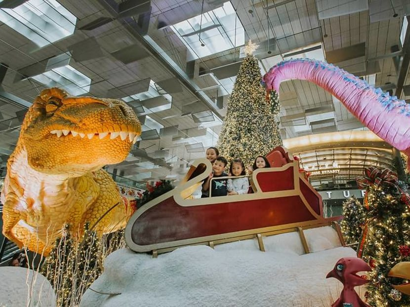 Enjoy snow, walk with dinosaurs at Changi Airport's year-end festive event