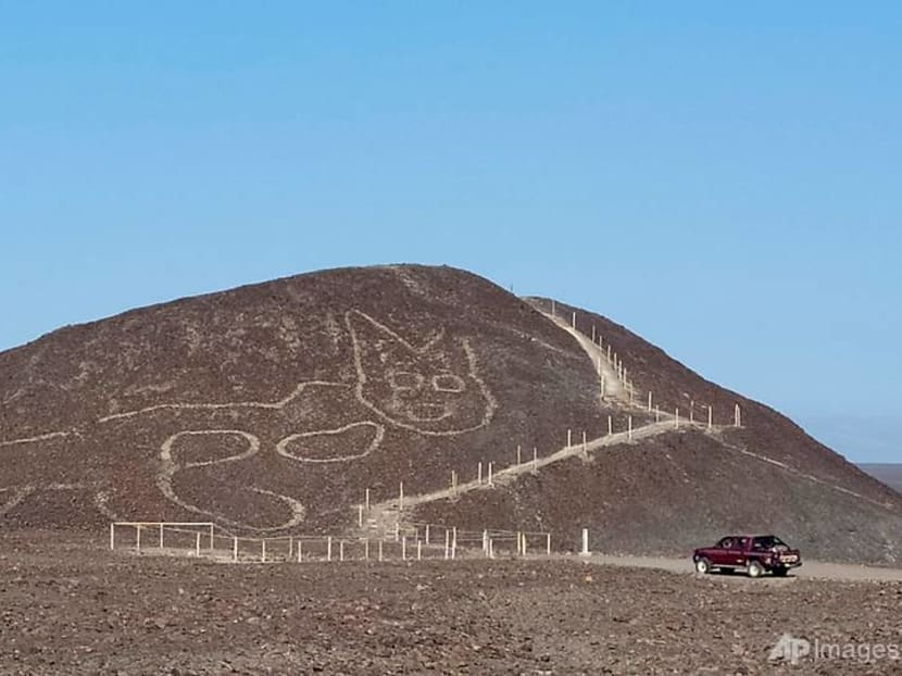 Peruvian archaeologists unveil giant cat carved into Nazca hillside