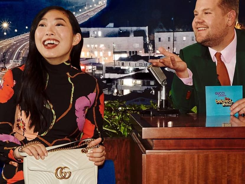 Awkwafina, Harry Styles show off Gucci handbags in James Corden 'talk show'