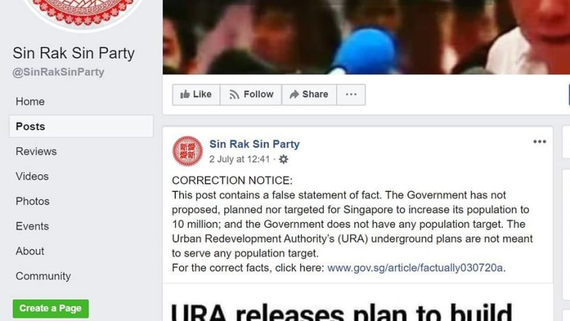 POFMA Office instructed to issue correction directions to Sin Rak Sin Party Facebook page, three users