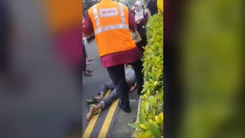 Cyclist taken to hospital after accident involving bus at Sembawang