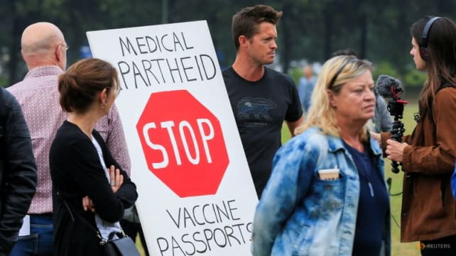 Dutch protest against COVID-19 vaccine pass to enter bars, restaurants
