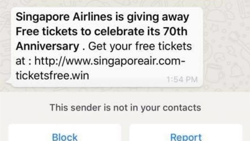 Singapore Airlines warns of phishing website offering free air tickets