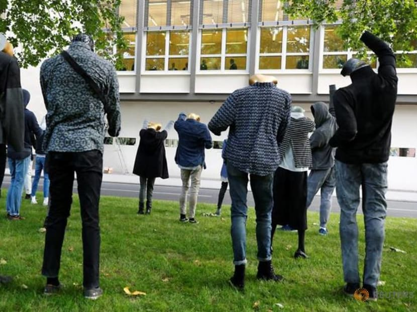 Syrian artist's Silent Demonstration watches over German war crimes trial