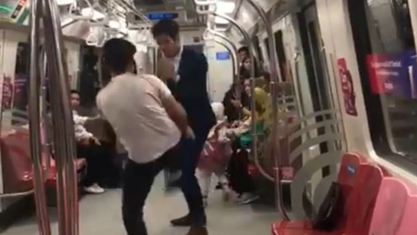 Two men arrested after fight breaks out on MRT train