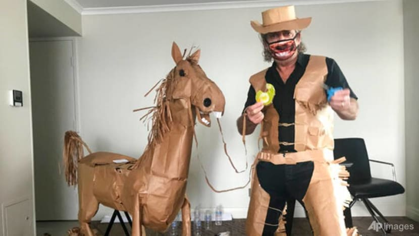 Man rides out Australia hotel COVID-19 quarantine by crafting paper horse, cowboy outfit