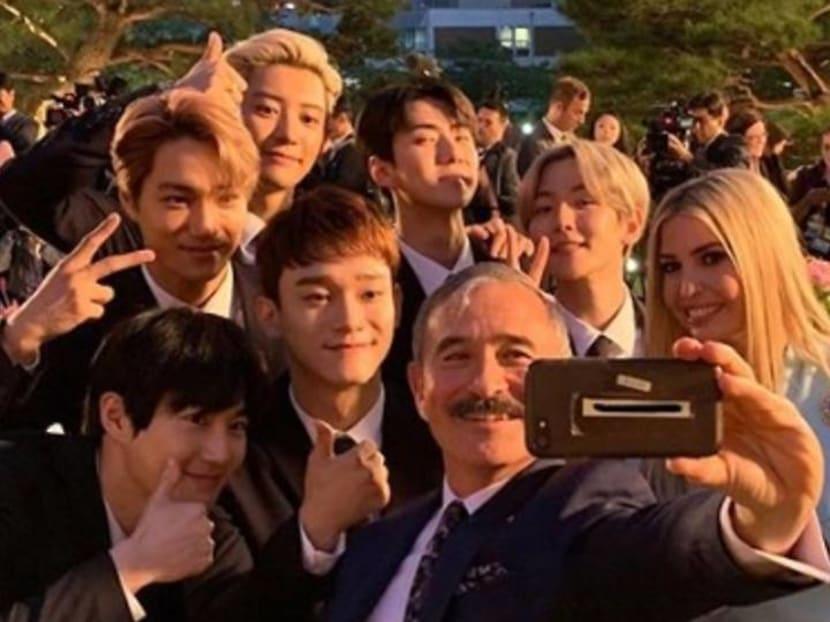 Donald and Ivanka Trump meet K-pop band EXO in Seoul