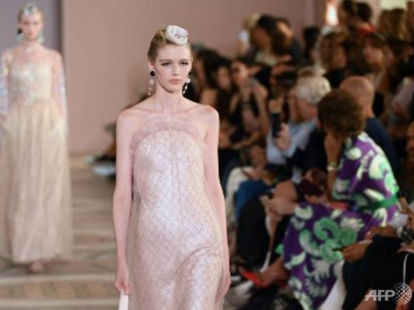 Rainbow feathers, tulle and a sea of pastel at Armani Prive fashion show