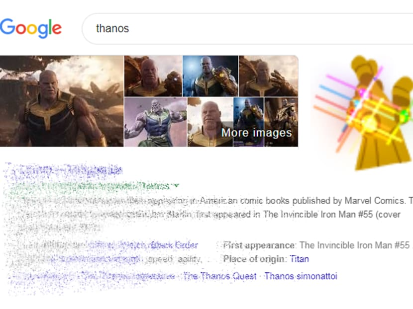 Infinity Whoa: Watch Thanos wipe out half your Google search results