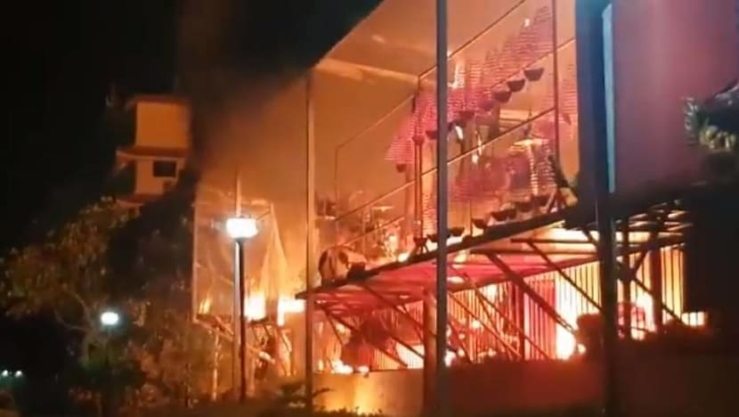 Sembawang God of Wealth temple on fire, residents from nearby welfare home evacuated