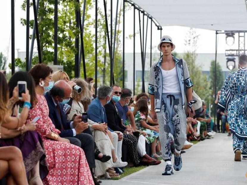 Masks and social distancing at Dolce & Gabbana's first COVID-era catwalk