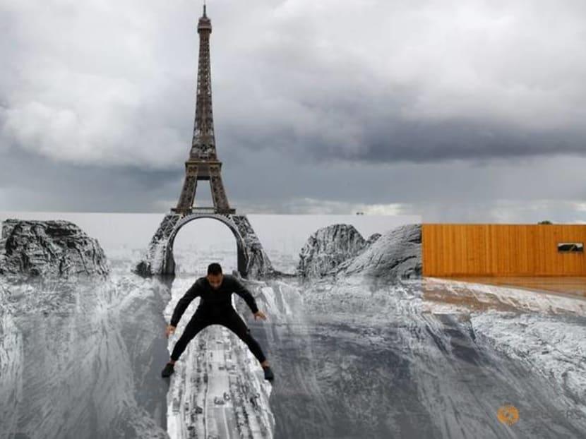Optical illusion leaves Eiffel Tower teetering over ravine