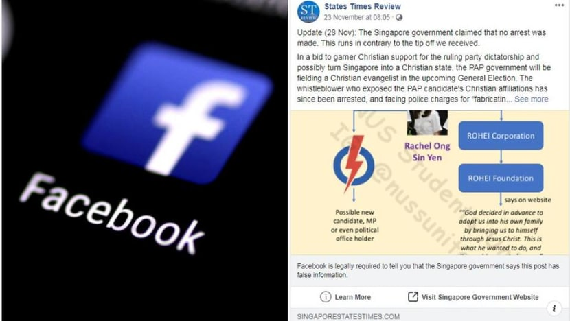 Facebook issues correction notice on States Times Review's post