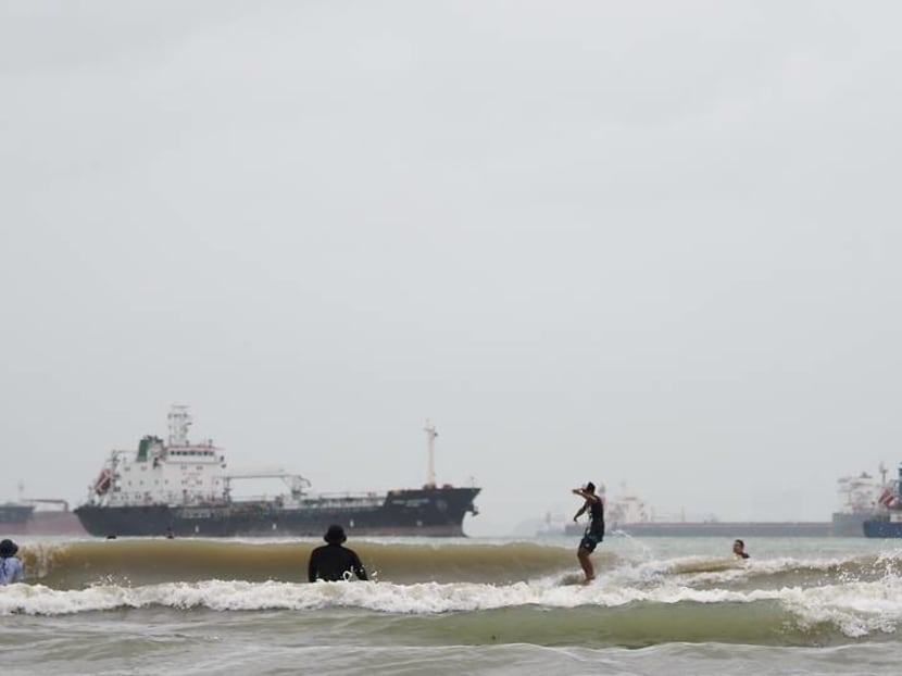 Surf's up in Singapore: Rare waves at Changi draw surfers unable to travel for their sport