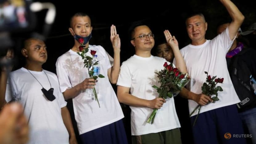 Four Thai activists vow to continue protests after release