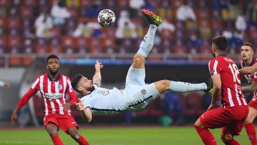 Football: Acrobatic Giroud gives Chelsea advantage over Atletico