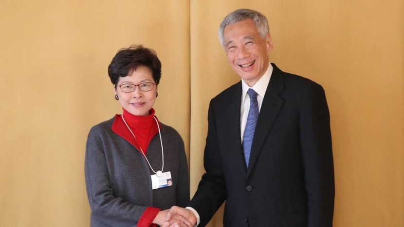 PM Lee meets Hong Kong chief executive Carrie Lam in Davos