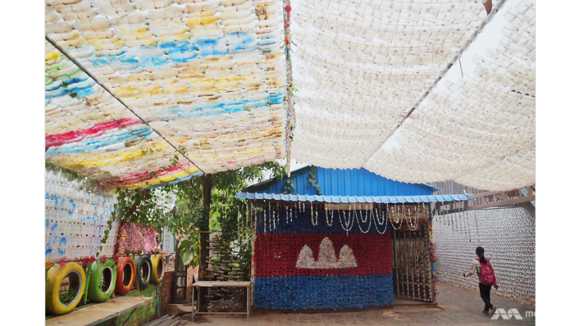 Cambodia's school made of rubbish encourages green, clean future