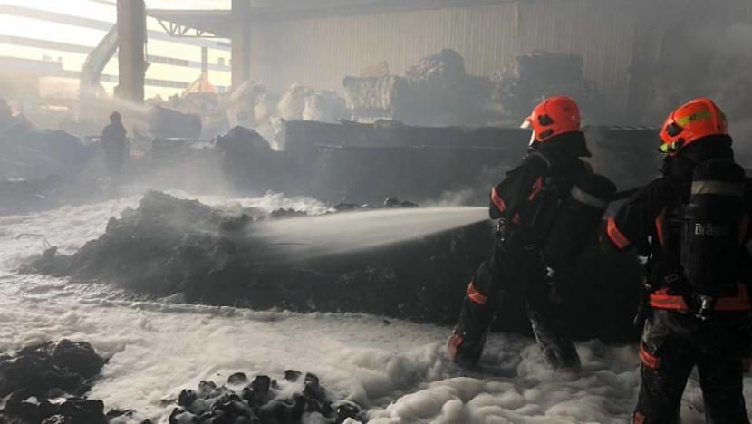 More than 50 firefighters battle blaze at waste recycling facility in Tuas